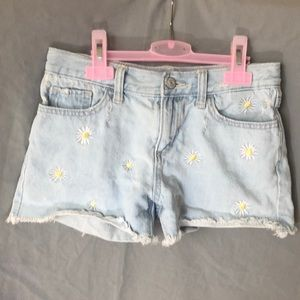Old Navy Girl's Jean Shorts with Daisy Embroidery